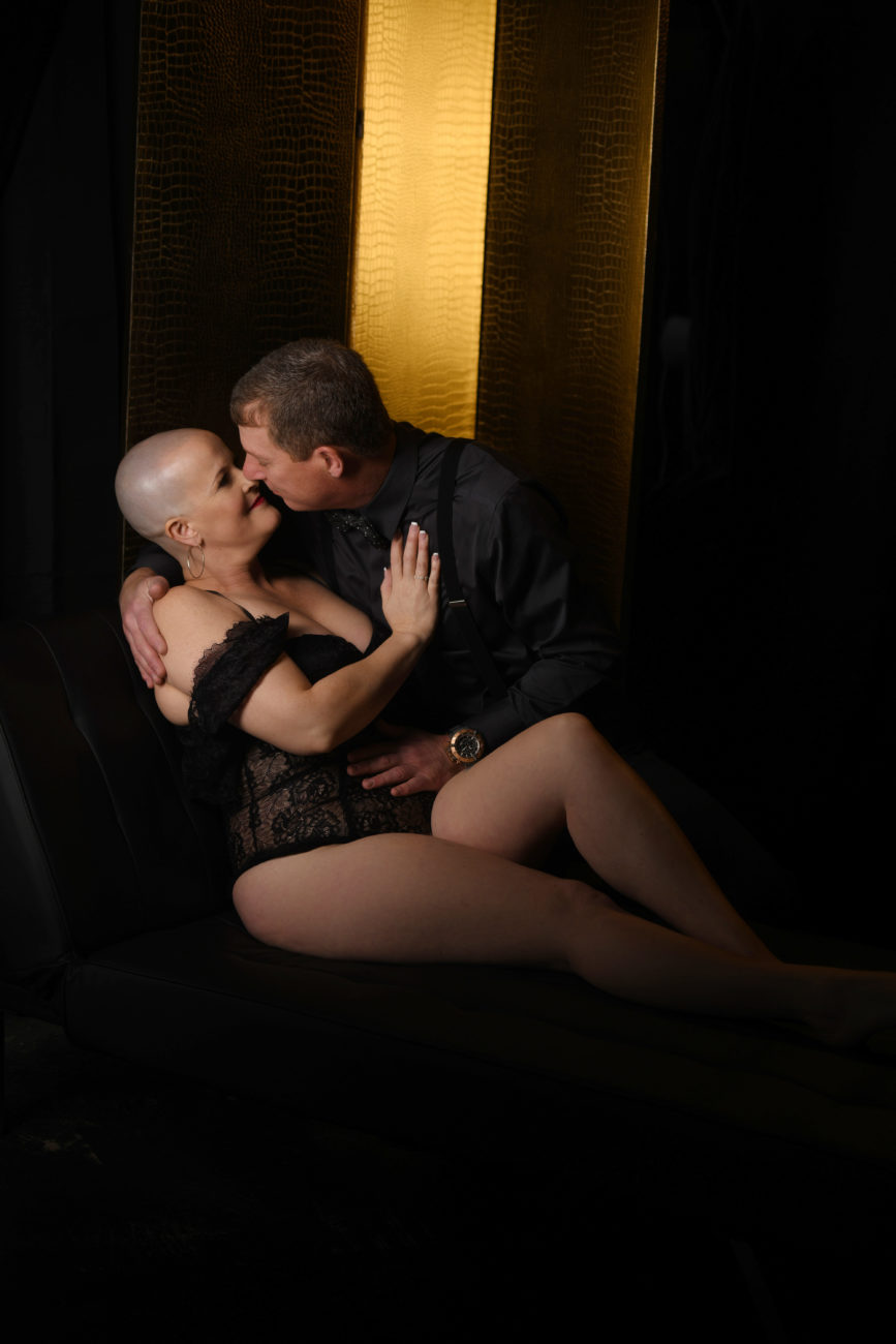 Bald and beautiful couples boudoir