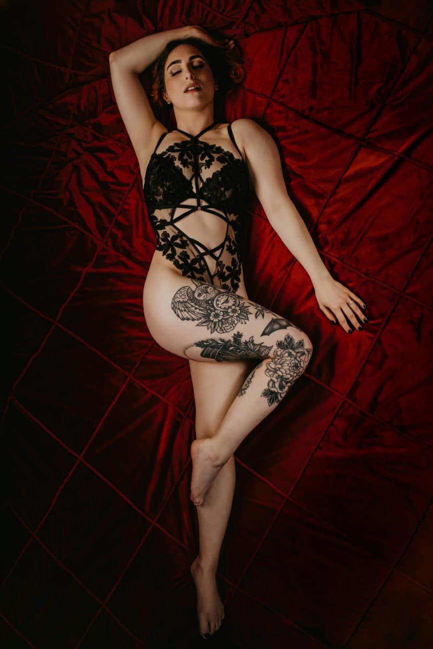 Marilyn Monroe Red Velvet Boudoir Photography
