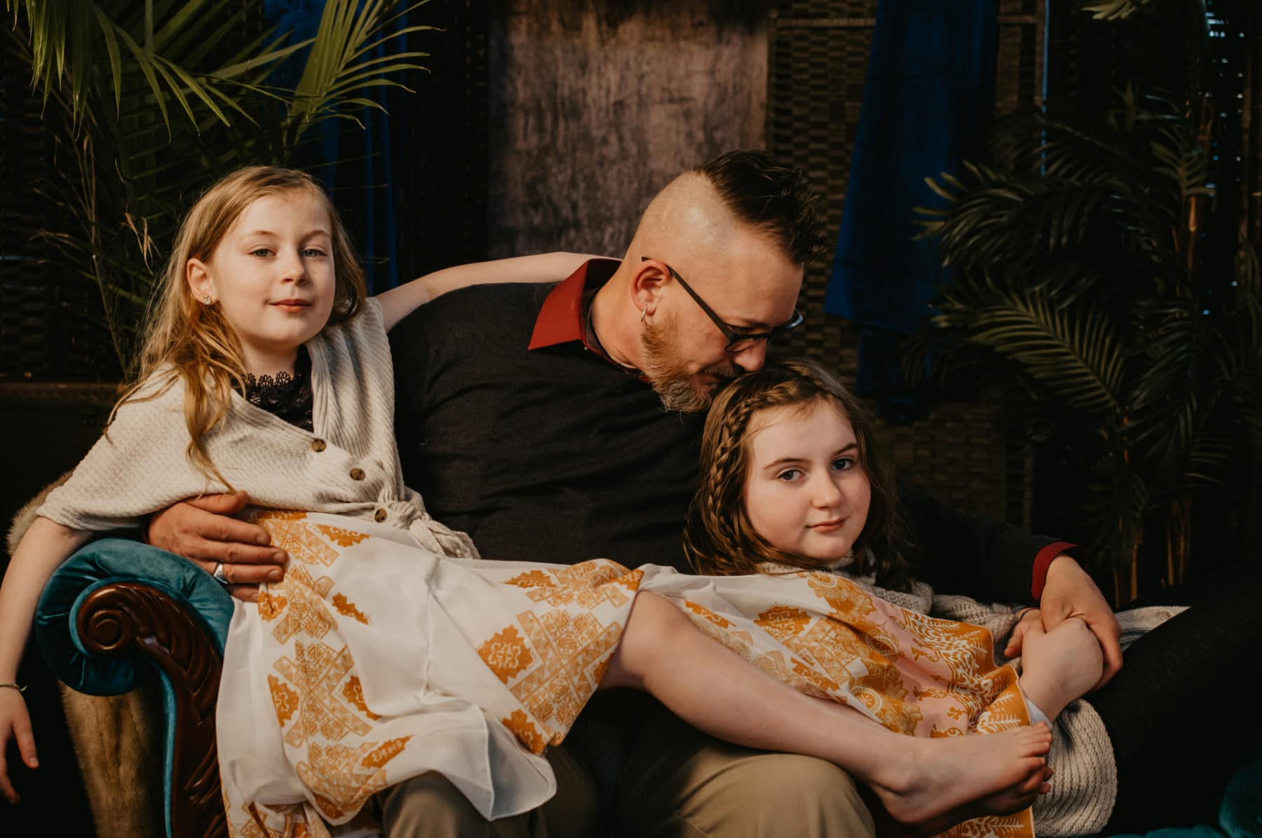 Dad Snuggles Children Photoshoot